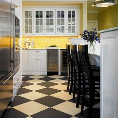 Black And White Tile Kitchen Square Wall Clocks Design Ideas For Kitchens Traditional Home Warmed By Taxi Yellow Tiles On The Backsplash A Beige Checkerboard Floor This Mostly Is Sleek But Not Cold