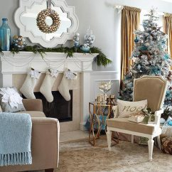 Decorate Small Living Room For Christmas Decoration Furniture Holiday Rooms In Blue And White Traditional Home Enlarge