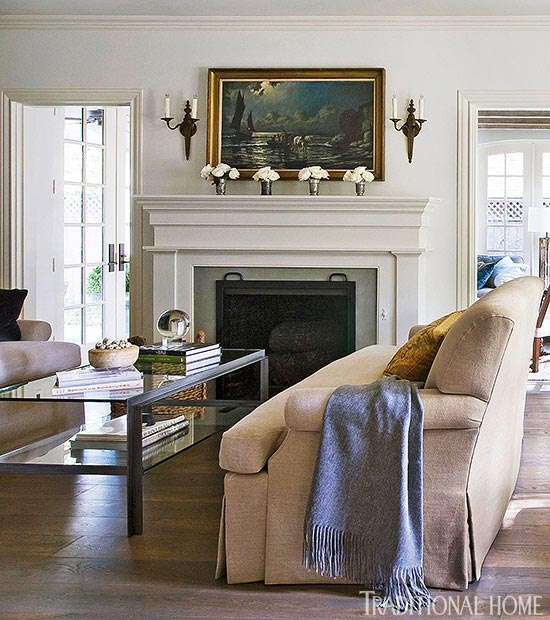 living room mantel furniture leather and upholstery get the look classic mantels traditional home enlarge