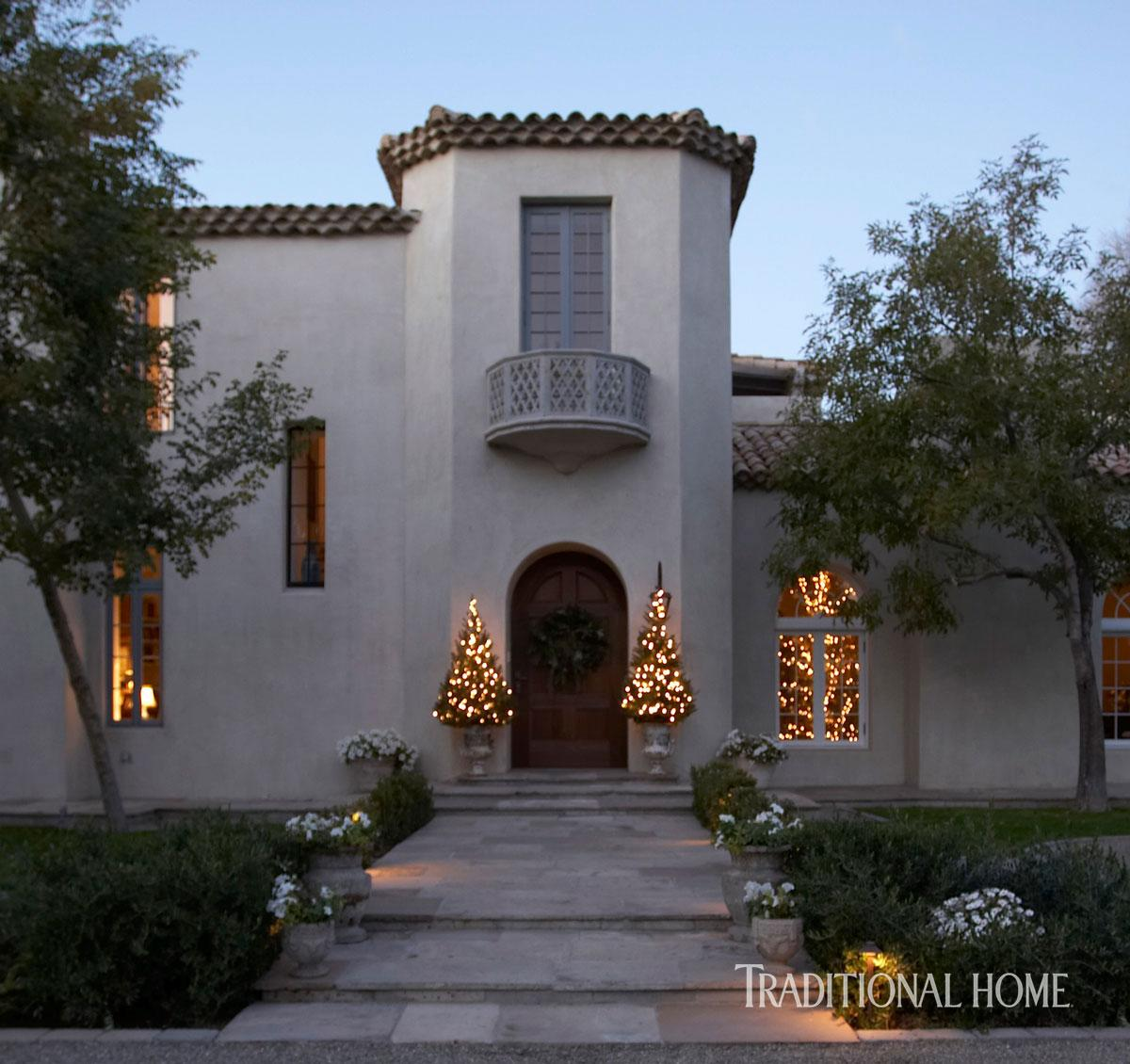 Christmas in a Spanish MissionStyle Home  Traditional Home