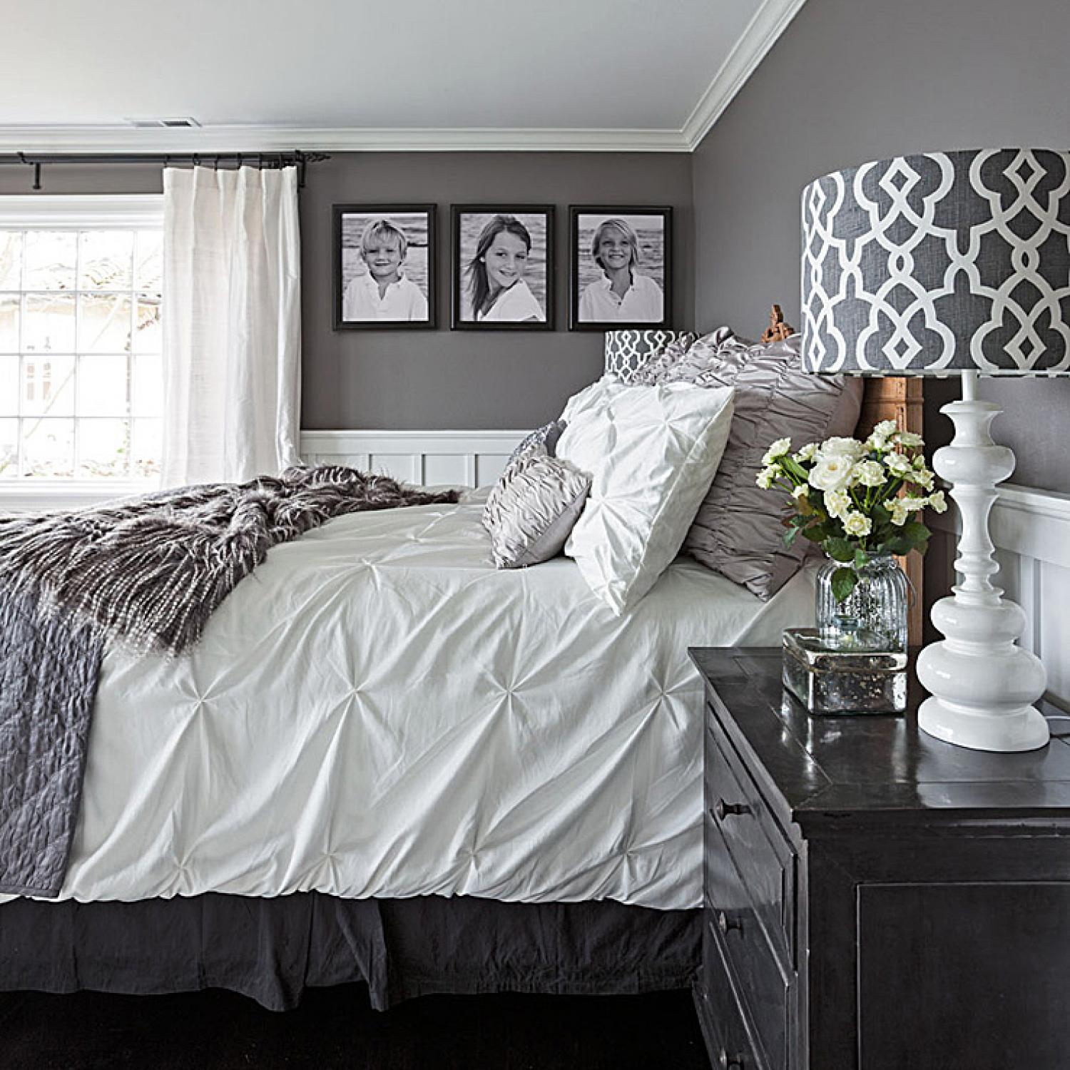 Gorgeous Gray-and-white Bedrooms Traditional Home