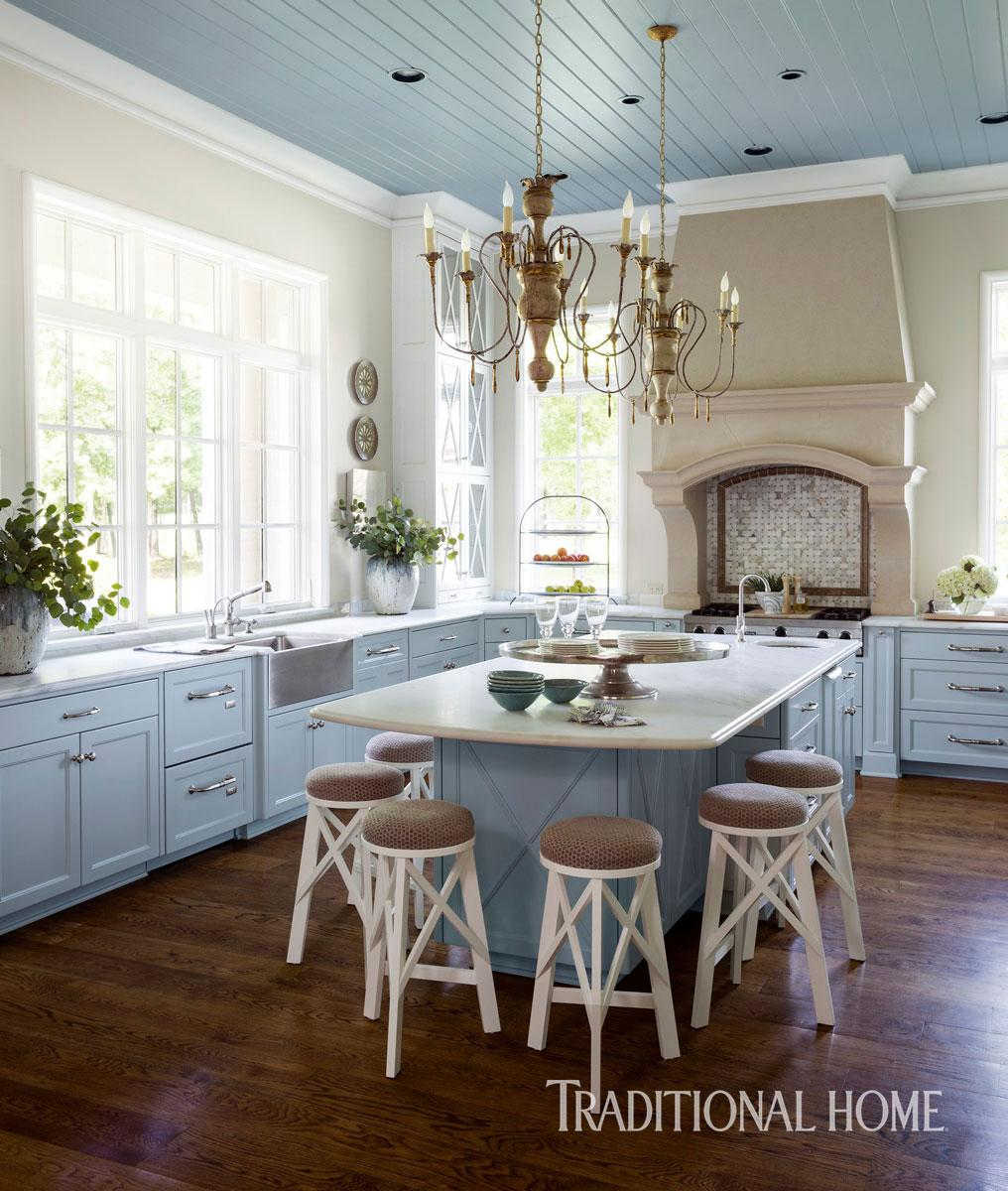 Beautiful Blue Kitchen in Arkansas  Traditional Home