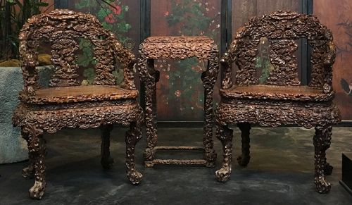 antique chinese dragon chair round wicker furniture from the zentner collection of asian art set three hardwood chairs and tea table