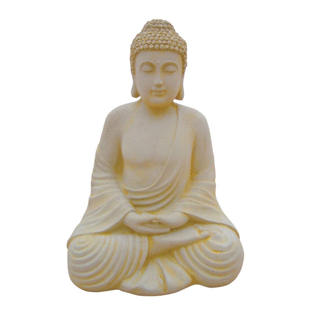 bouddha hindou en pierre reconstituee ton vieilli h 50 cm