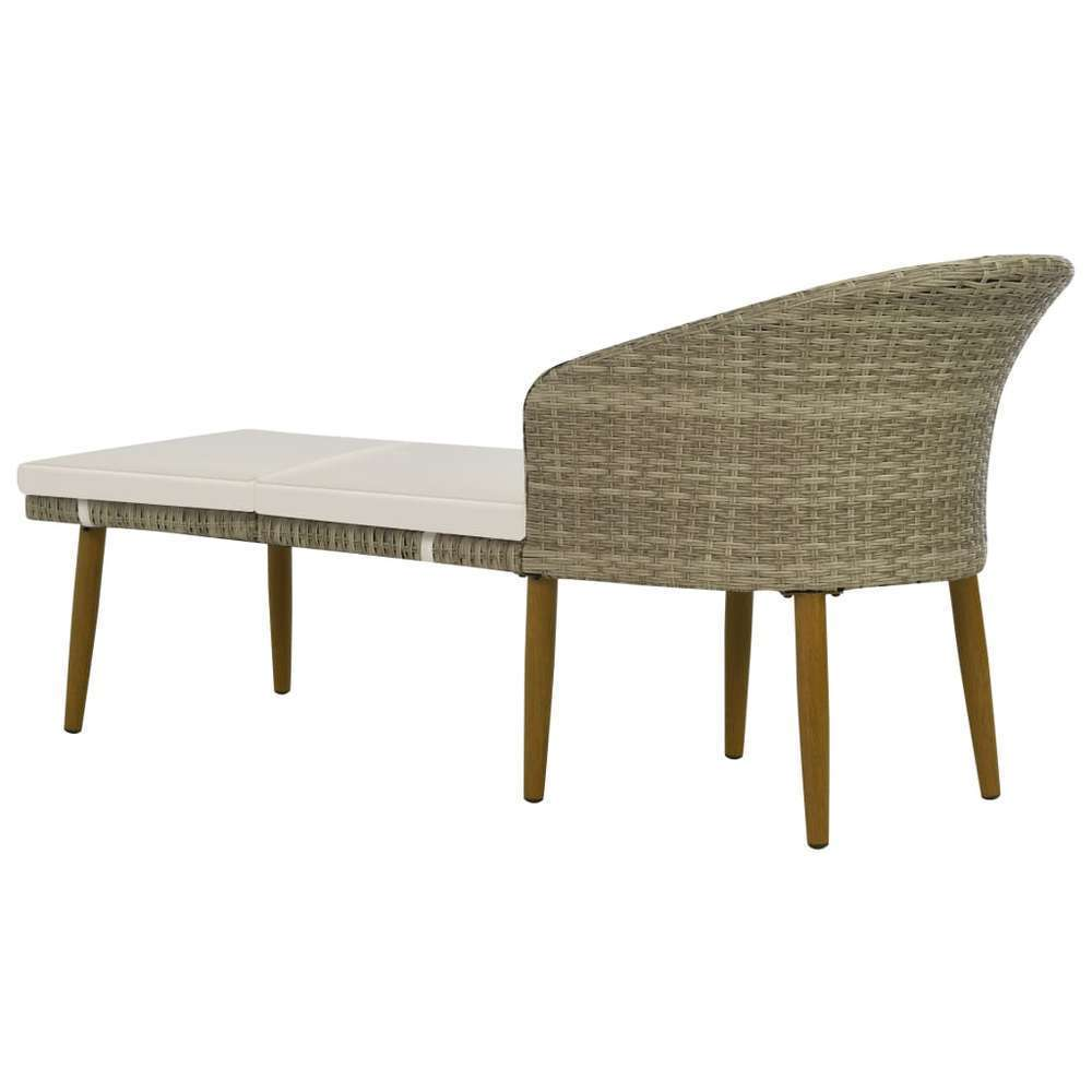chaise longue de jardin gris beige resine tressee