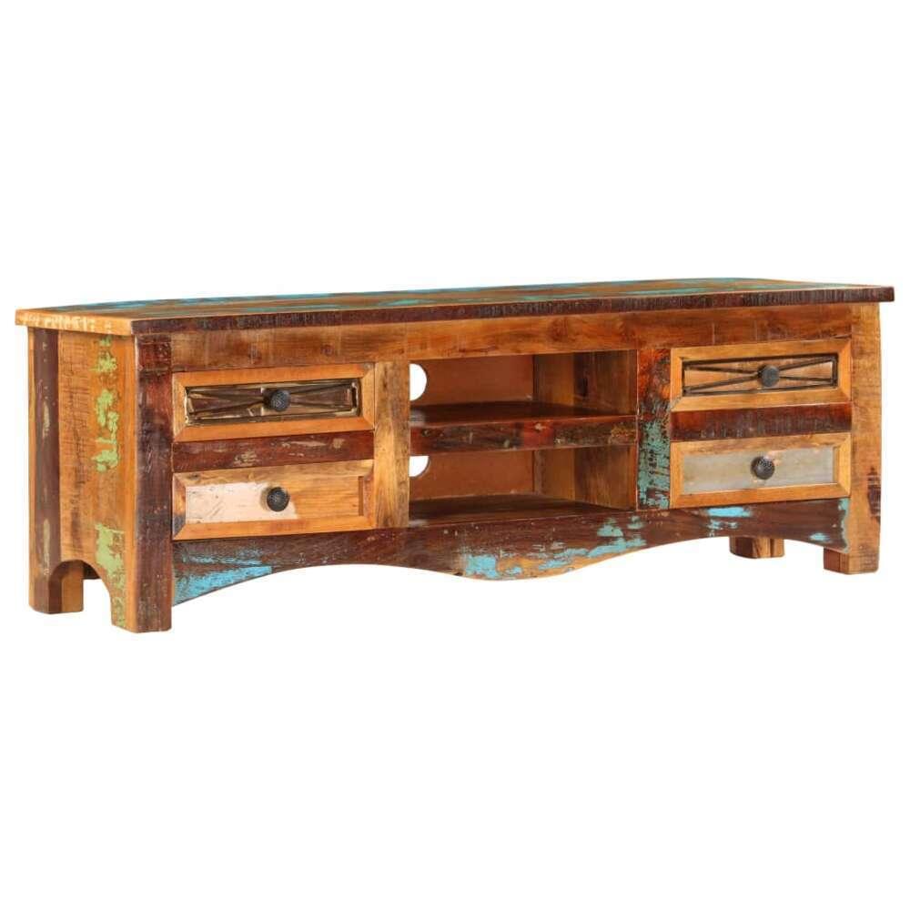 meuble tv 120cm bois de recuperation massif