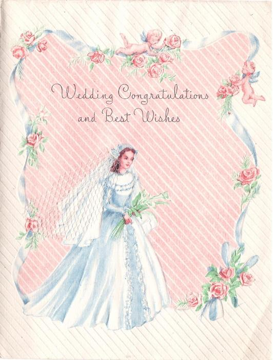 WEDDING CONGRATULATIONS AND BEST WISHES Blue Ribbon Roses Amp Two Angels Frame Bride With Veil