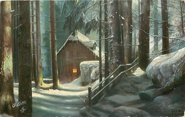 Snow Scene House Among Large Trees Light In Window No