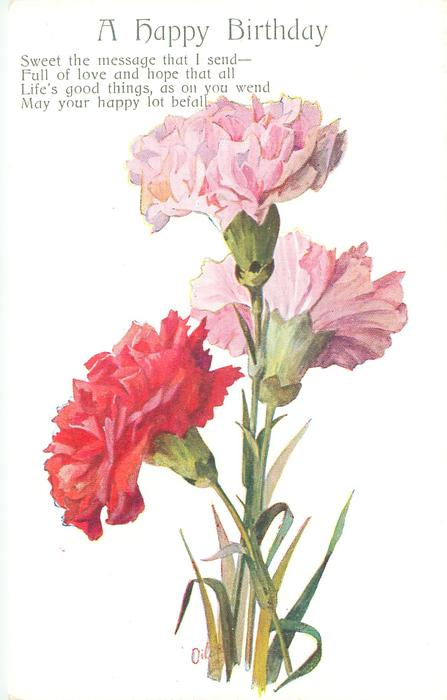 A HAPPY BIRTHDAY Three Carnations Two Pink & One Red