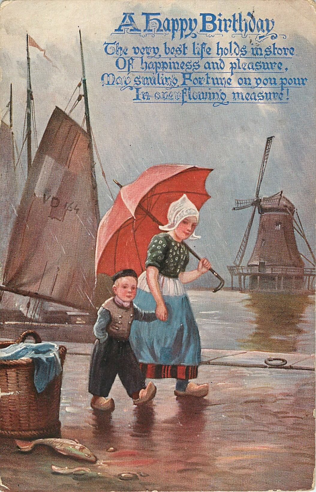 Dutch Girl And Boy Walking Right Under Umbrella Windmill