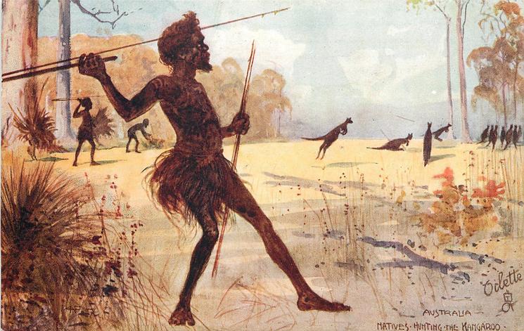 NATIVES HUNTING THE KANGAROO  TuckDB Postcards