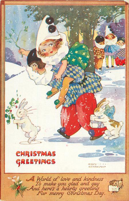 CHRISTMAS GREETINGS Boy Carries Girl Piggy Back Rabbits