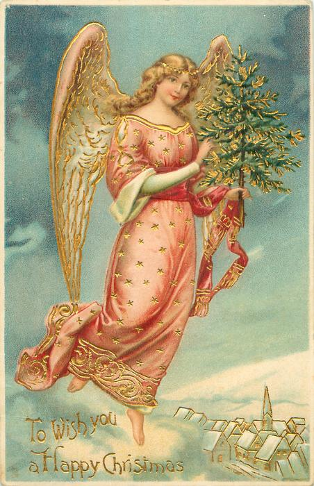 TO WISH YOU A HAPPY CHRISTMAS Angel Carrying Tree Flies