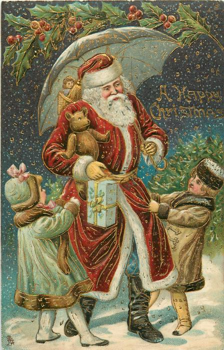 A HAPPY CHRISTMAS Santa carrying teddy under umbrella