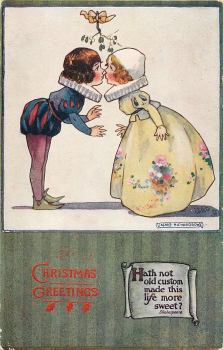 CHRISTMAS GREETINGS Boy And Girl Kiss Under Mistletoe