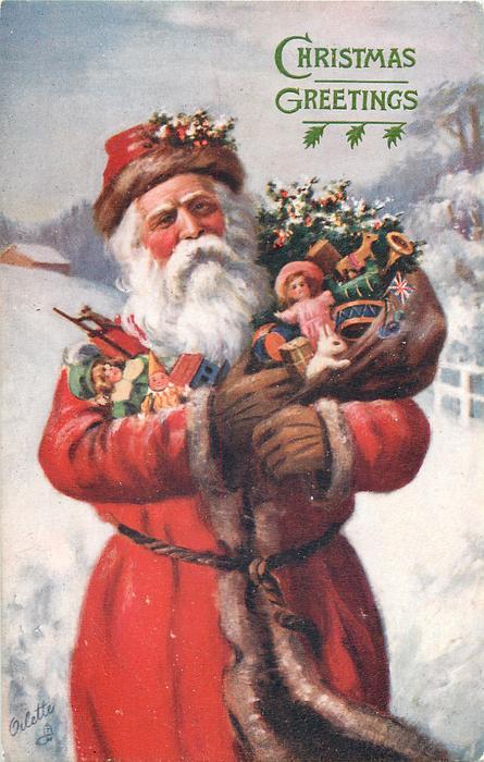 CHRISTMAS GREETINGS 34 Length Santa With Arms Full Of
