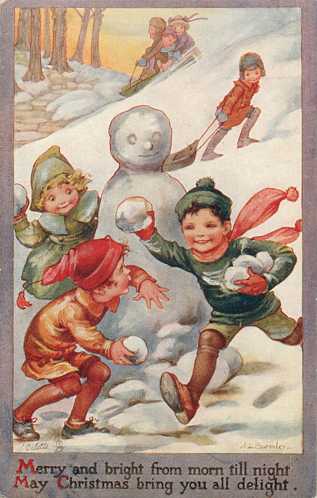 Children Playing In Snow Snowman TuckDB Postcards