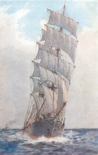 head-on view of sailing ship with five sails on front mast ...