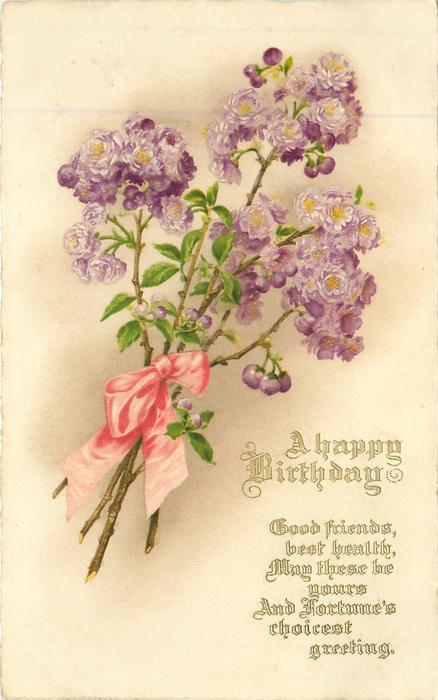 A HAPPY BIRTHDAY Purple Roses TuckDB Postcards
