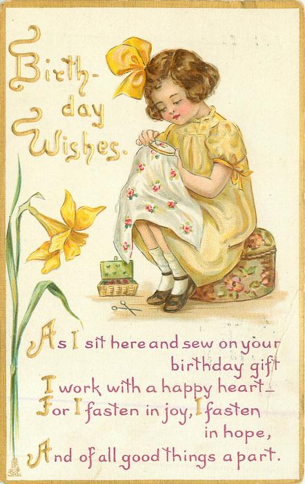 BIRTHDAY WISHES Girl Sits Sewing Daffodil Left TuckDB