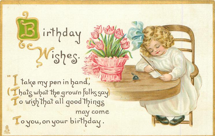 BIRTHDAY WISHES Girl Sits Writing Pot Of Tulips On Table