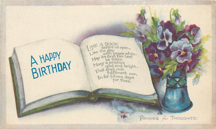 A HAPPY BIRTHDAY Book Vase Of Pansies TuckDB Postcards