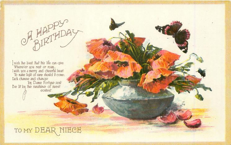 A HAPPY BIRTHDAY TO MY DEAR NIECE Pewter Bowl Of Poppies