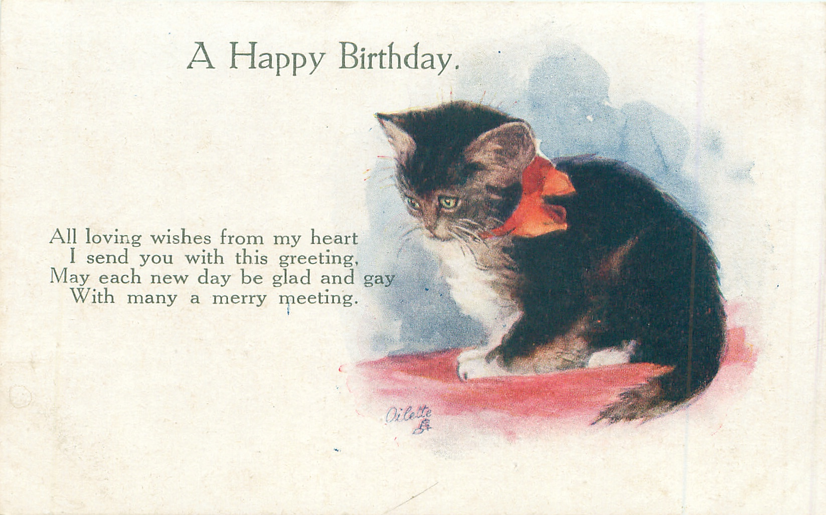 A HAPPY BIRTHDAY Black And White Kitten TuckDB Postcards