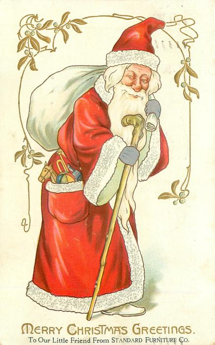 MERRY CHRISTMAS GREETINGS Santa In Red Coat With White