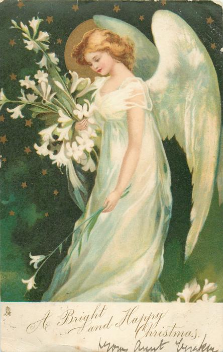 A BRIGHT AND HAPPY CHRISTMAS Angel Holds Easter Lilies
