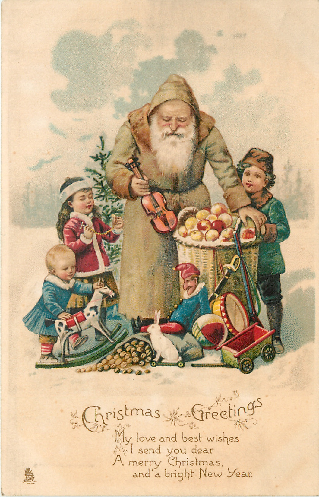 CHRISTMAS GREETINGS Olive Coated Santa Holding Small