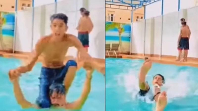 स्विमिंग पूल में स्टंट करना पड़ा भारी, VIDEO देख लोग बोले- हंड्रेड परसेंट गर्दन टूट गई होगी