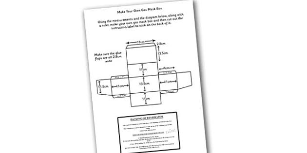 Word War Two Make Your Own Gas Mask Box Instructions and Label