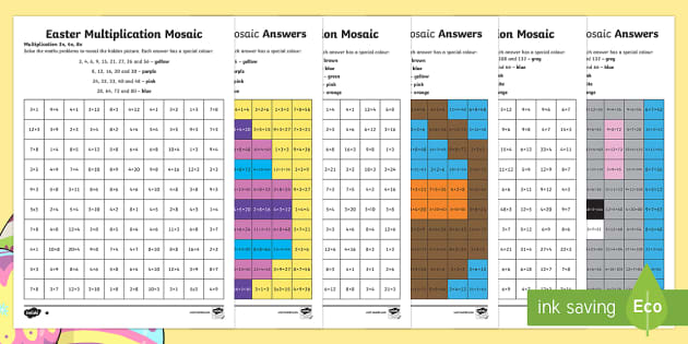 Easter Multiplication Mosaics Differentiated Activity Sheets