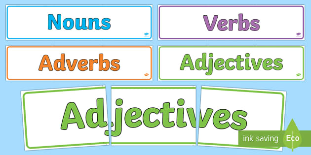 Nouns Adjectives Verbs and Adverbs Display Banner Pack - nouns