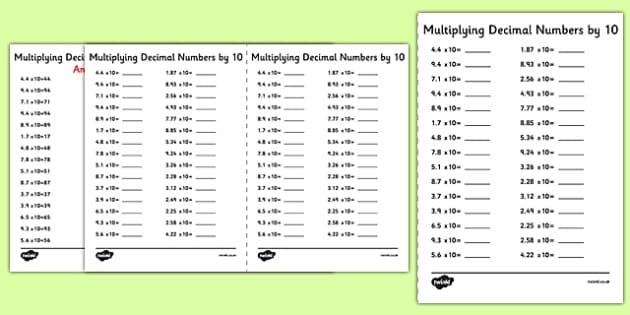 Multiplying Decimal Numbers by 10 A5 Activity Sheet