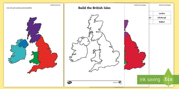 Build The United Kingdom Activity Sheet - Britain, Wales, England, Ireland, Scotland, map, jigsaw map, worksheet, scottish, activity sheet