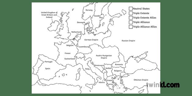1914 Alliances Colour Map War Countries History Europe