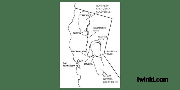 California Goldrush Map Map History California USA KS2