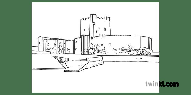 Carrickfergus Castle British English Illustrated Map UK