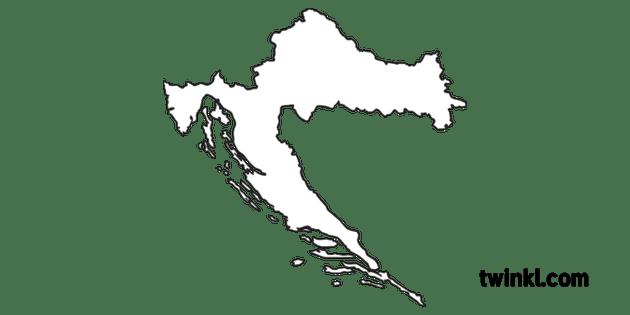 Croatia Country Border Shape European Country Map KS1