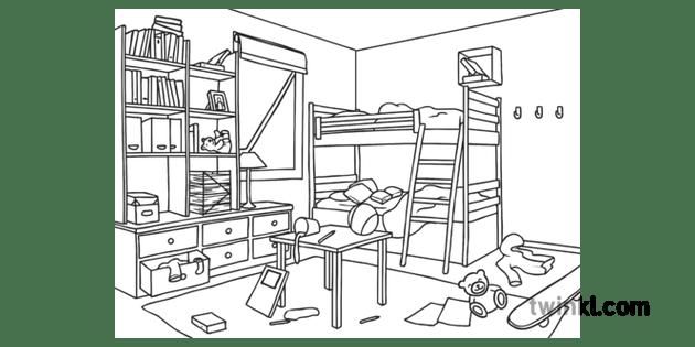 Dangers in the Bedroom Untidy Hazards Home KS1 Black and