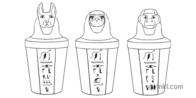 Finished Egyptian Canopic Jars Ancient Egypt Art Craft