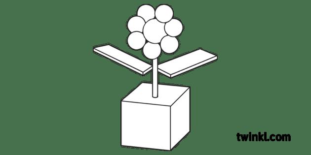 Flower 3D Shape Geometric Maths Topics KS1 Black and White