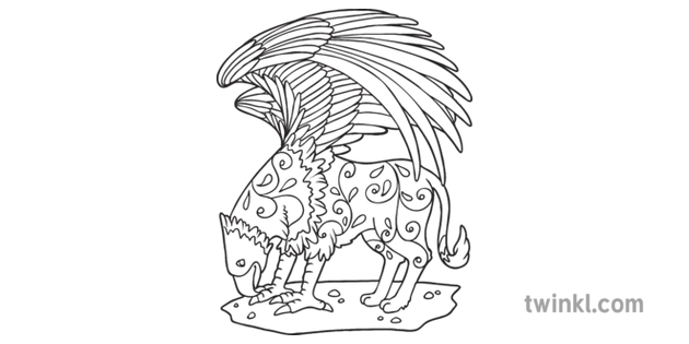 Griffin Mindfulness Colouring Mythical Creature Eagle Lion