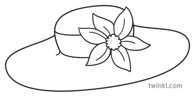 Kentucky Derby Hat with Flower Colouring Page USA KS1