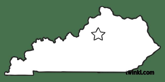 Kentucky Outline USA State Map Frankfort Capital KS1 Black