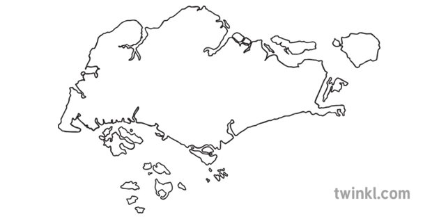 Map Outline of Singapore Country Shapes Flag Continents