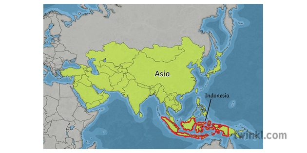 Map Of Asia With Indonesia Highligthed Ks2 Map Year 6 Hass Geography Asia