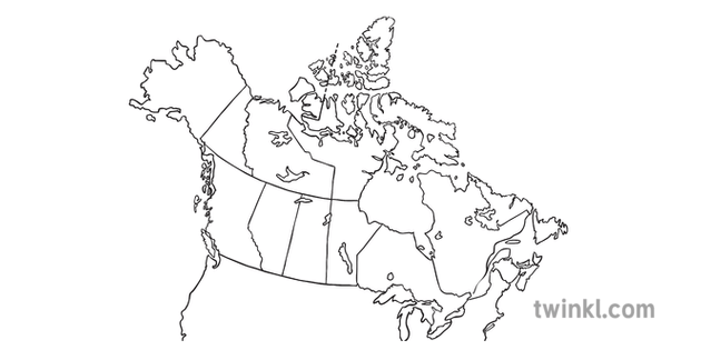 Map of Canada with Provinces No Text Geography KS2 Black
